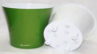 Арте горшок с вкладкой  зелено-белый                                         2,0л  h.15 d.15                                3,5л  h.17,5 d.19,5